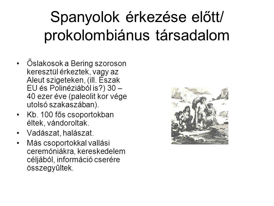 Spanyolok érkezése előtt/ prokolombiánus társadalom Őslakosok a Bering szoroson keresztül érkeztek, vagy az Aleut szigeteken, (ill. Észak EU és Poliné