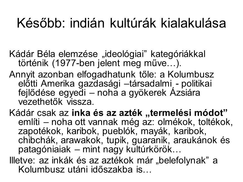 """Később: indián kultúrák kialakulása Kádár Béla elemzése """"ideológiai"""" kategóriákkal történik (1977-ben jelent meg műve…). Annyit azonban elfogadhatunk"""