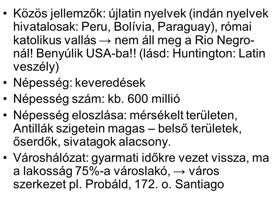 Közös jellemzők: újlatin nyelvek (indán nyelvek hivatalosak: Peru, Bolívia, Paraguay), római katolikus vallás → nem áll meg a Rio Negro- nál! Benyúlik