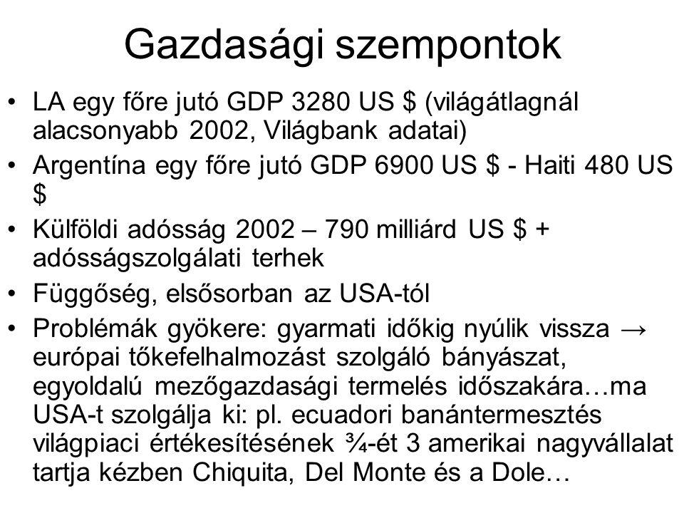 Gazdasági szempontok LA egy főre jutó GDP 3280 US $ (világátlagnál alacsonyabb 2002, Világbank adatai) Argentína egy főre jutó GDP 6900 US $ - Haiti 4