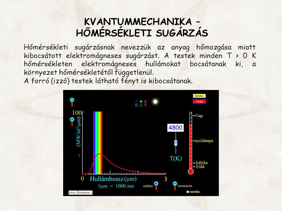 KVANTUMMECHANIKA – HŐMÉRSÉKLETI SUGÁRZÁS Hőmérsékleti sugárzásnak nevezzük az anyag hőmozgása miatt kibocsátott elektromágneses sugárzást. A testek mi