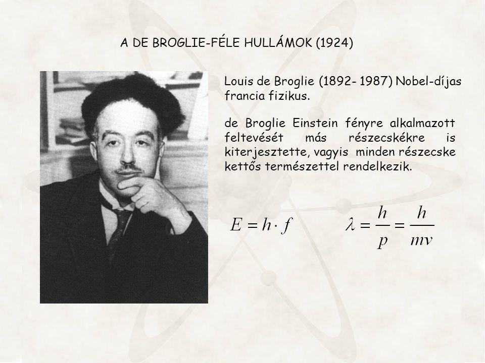 A DE BROGLIE-FÉLE HULLÁMOK (1924) de Broglie Einstein fényre alkalmazott feltevését más részecskékre is kiterjesztette, vagyis minden részecske kettős