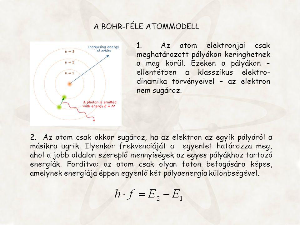A BOHR-FÉLE ATOMMODELL 2. Az atom csak akkor sugároz, ha az elektron az egyik pályáról a másikra ugrik. Ilyenkor frekvenciáját a egyenlet határozza me