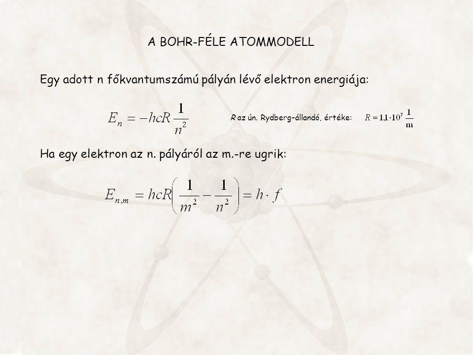 Egy adott n főkvantumszámú pályán lévő elektron energiája: R az ún. Rydberg-állandó, értéke: Ha egy elektron az n. pályáról az m.-re ugrik: A BOHR-FÉL