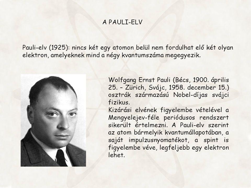 A PAULI-ELV Pauli-elv (1925): nincs két egy atomon belül nem fordulhat elő két olyan elektron, amelyeknek mind a négy kvantumszáma megegyezik. Wolfgan