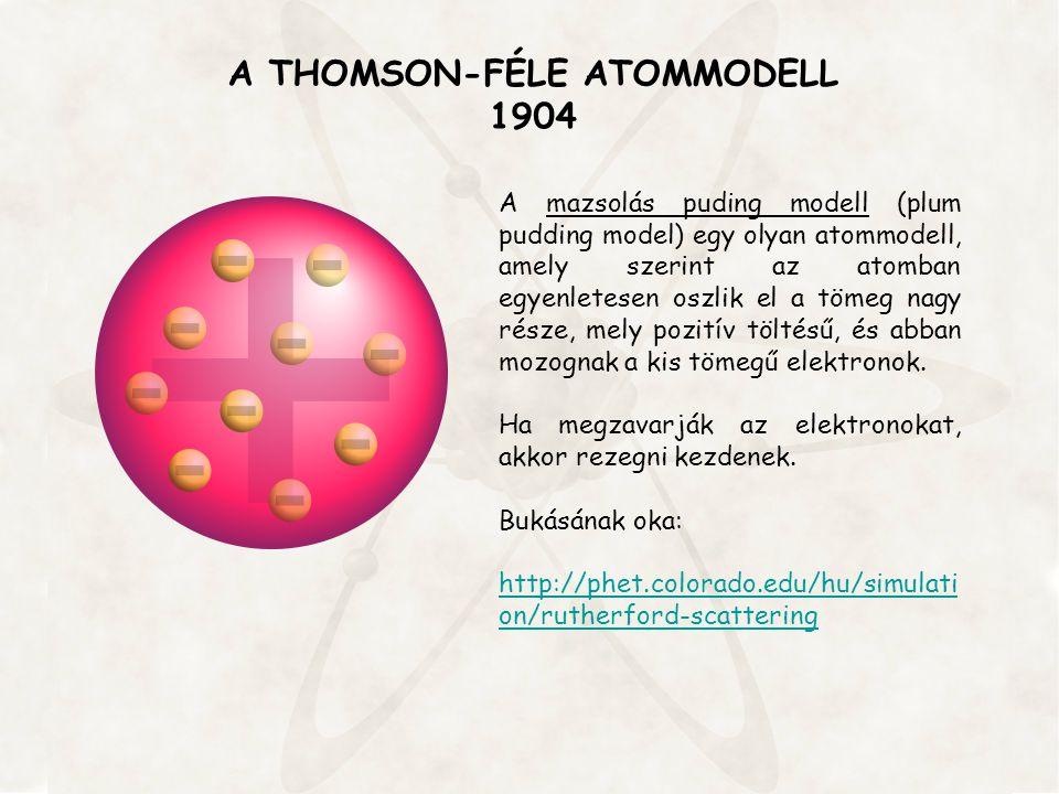 A THOMSON-FÉLE ATOMMODELL 1904 A mazsolás puding modell (plum pudding model) egy olyan atommodell, amely szerint az atomban egyenletesen oszlik el a t