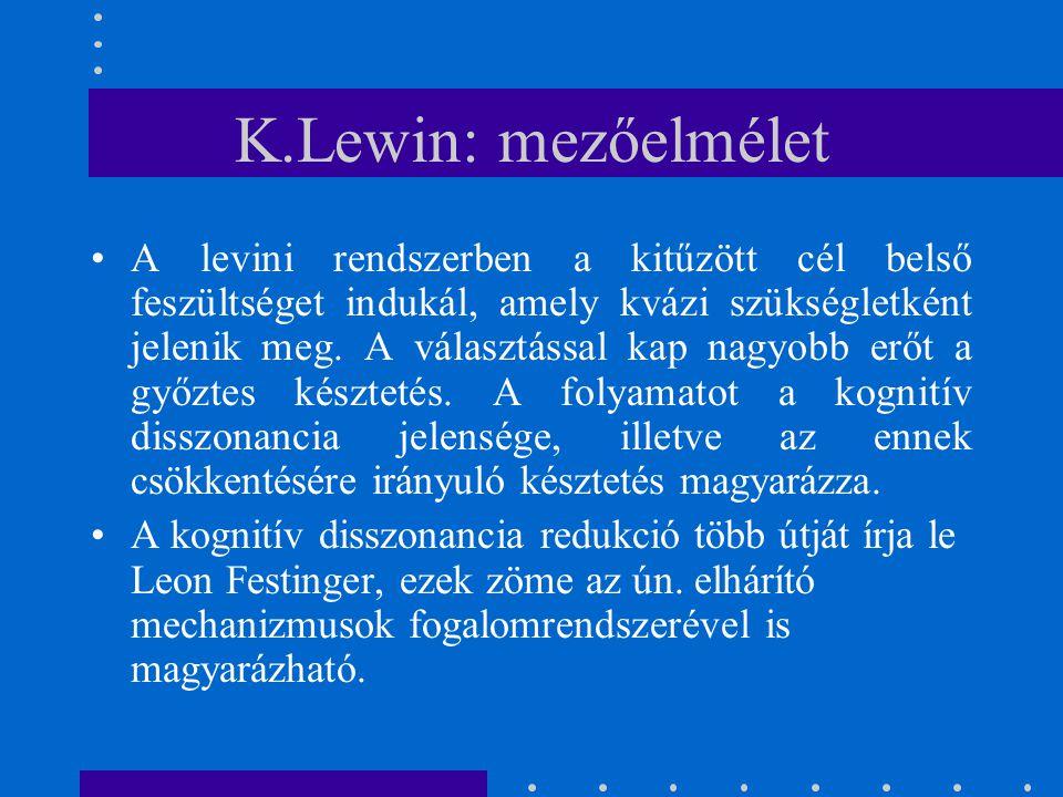 K.Lewin: mezőelmélet A levini rendszerben a kitűzött cél belső feszültséget indukál, amely kvázi szükségletként jelenik meg. A választással kap nagyob