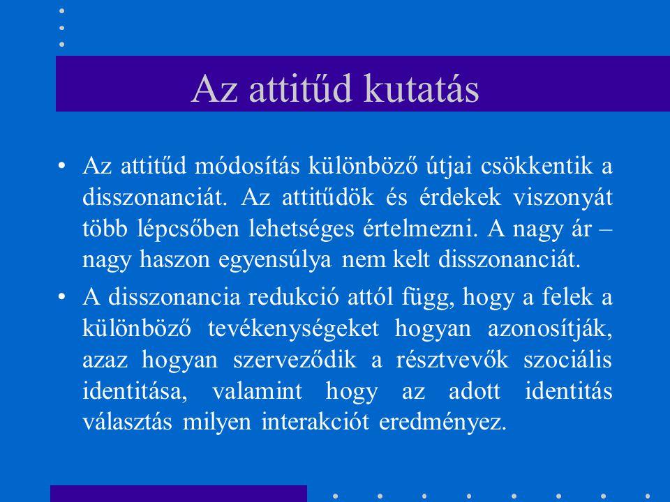 Az attitűd kutatás Az attitűd módosítás különböző útjai csökkentik a disszonanciát. Az attitűdök és érdekek viszonyát több lépcsőben lehetséges értelm