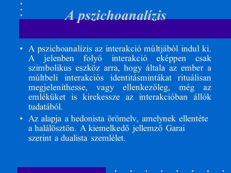 A pszichoanalízis A pszichoanalízis az interakció múltjából indul ki. A jelenben folyó interakció eképpen csak szimbolikus eszköz arra, hogy általa az