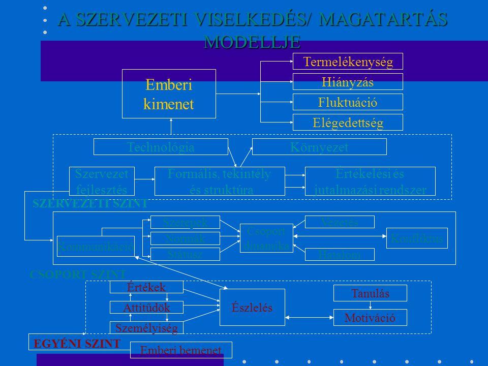 A SZERVEZETI VISELKEDÉS/ MAGATARTÁS MODELLJE Emberi kimenet Termelékenység Hiányzás Fluktuáció Elégedettség Szervezet fejlesztés Formális, tekintély é