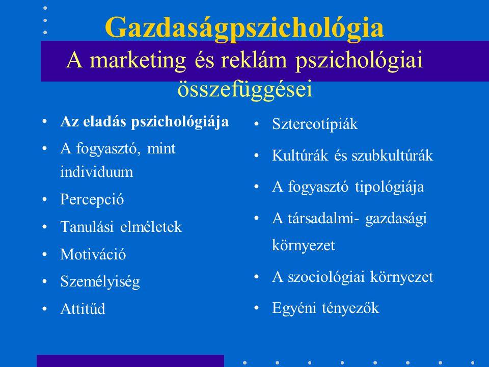 Gazdaságpszichológia A marketing és reklám pszichológiai összefüggései Az eladás pszichológiája A fogyasztó, mint individuum Percepció Tanulási elméle