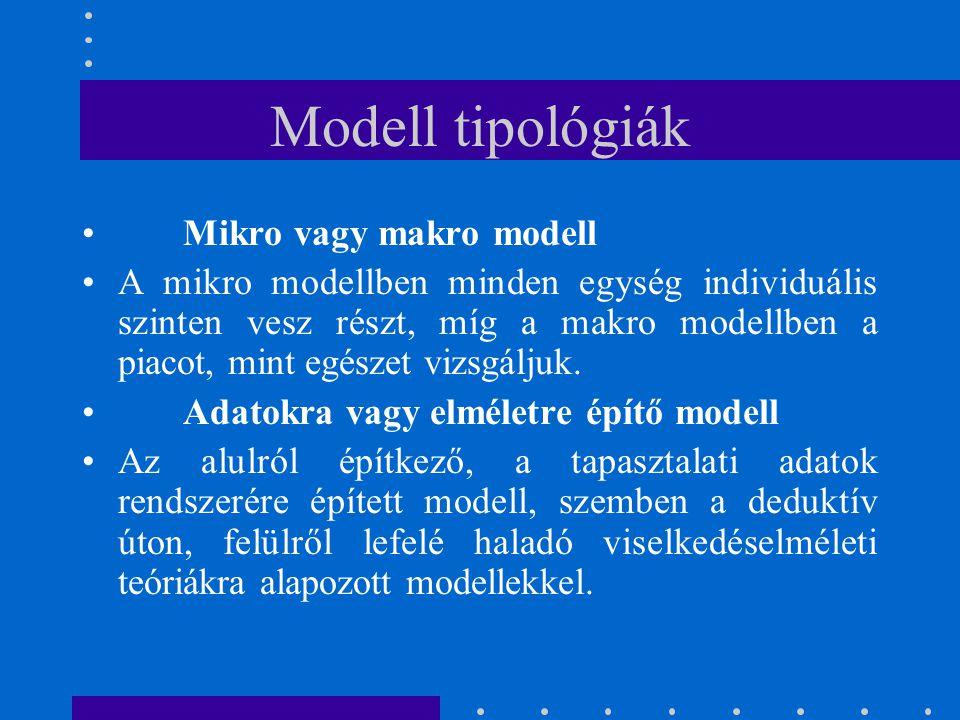 Modell tipológiák Mikro vagy makro modell A mikro modellben minden egység individuális szinten vesz részt, míg a makro modellben a piacot, mint egésze