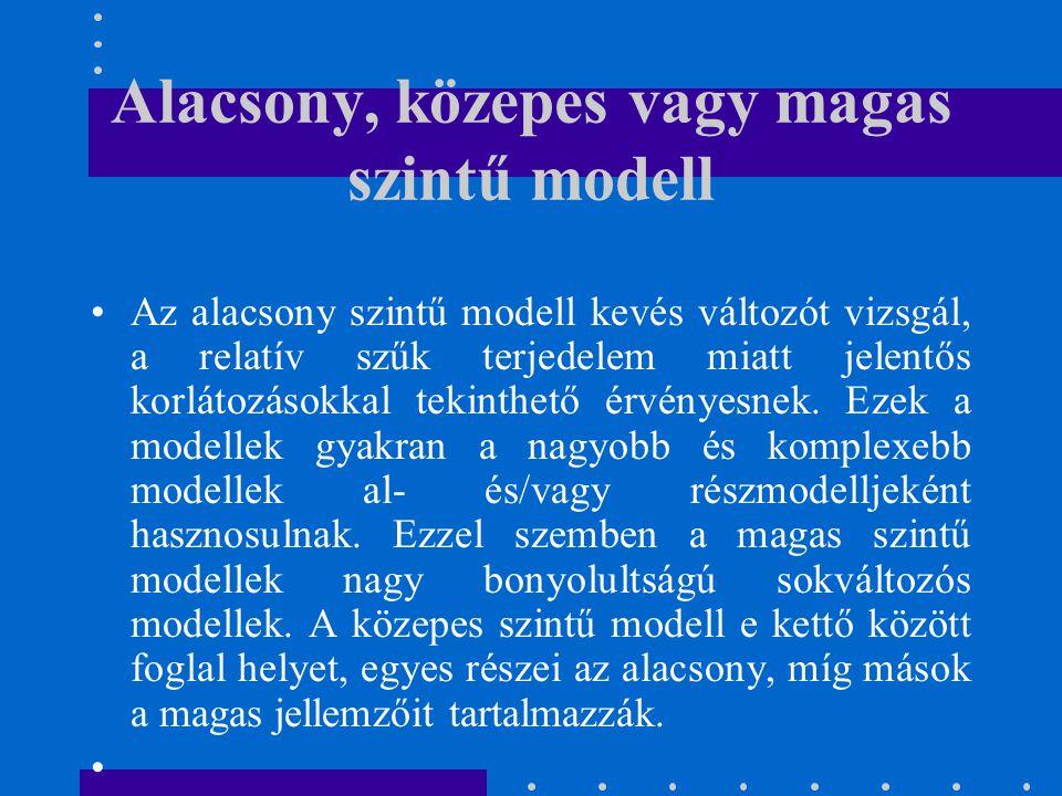Alacsony, közepes vagy magas szintű modell Az alacsony szintű modell kevés változót vizsgál, a relatív szűk terjedelem miatt jelentős korlátozásokkal