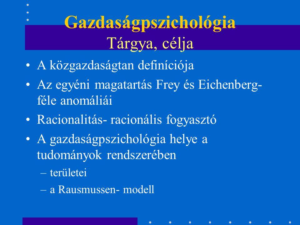 Gazdaságpszichológia Tárgya, célja A közgazdaságtan definíciója Az egyéni magatartás Frey és Eichenberg- féle anomáliái Racionalitás- racionális fogya