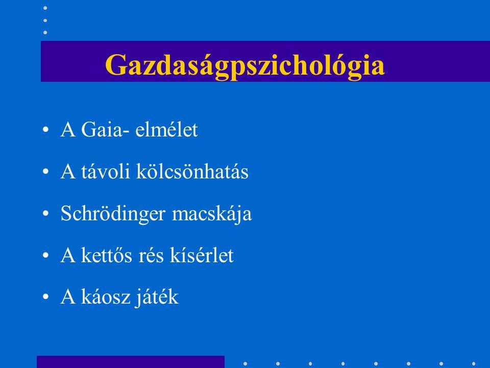Gazdaságpszichológia A Gaia- elmélet A távoli kölcsönhatás Schrödinger macskája A kettős rés kísérlet A káosz játék