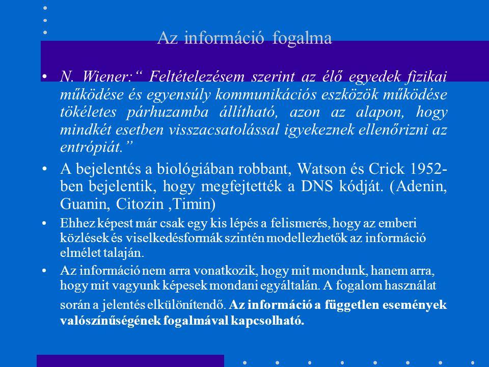 """Az információ fogalma N. Wiener:"""" Feltételezésem szerint az élő egyedek fizikai működése és egyensúly kommunikációs eszközök működése tökéletes párhuz"""