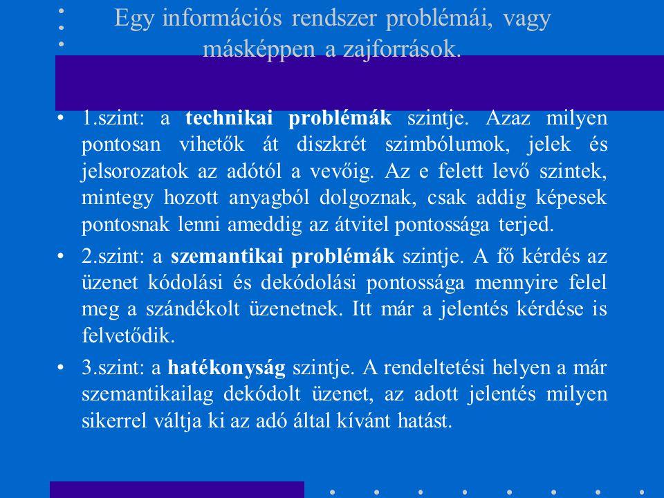 Egy információs rendszer problémái, vagy másképpen a zajforrások. 1.szint: a technikai problémák szintje. Azaz milyen pontosan vihetők át diszkrét szi