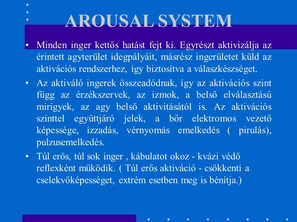 AROUSAL SYSTEM Minden inger kettős hatást fejt ki. Egyrészt aktivizálja az érintett agyterület idegpályáit, másrész ingerületet küld az aktivációs ren