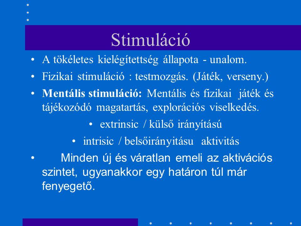 Stimuláció A tökéletes kielégítettség állapota - unalom. Fizikai stimuláció : testmozgás. (Játék, verseny.) Mentális stimuláció: Mentális és fizikai j