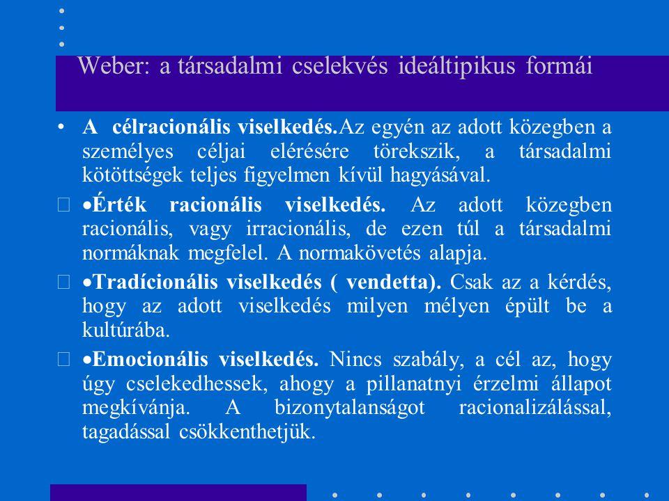 Weber: a társadalmi cselekvés ideáltipikus formái A célracionális viselkedés.Az egyén az adott közegben a személyes céljai elérésére törekszik, a társ