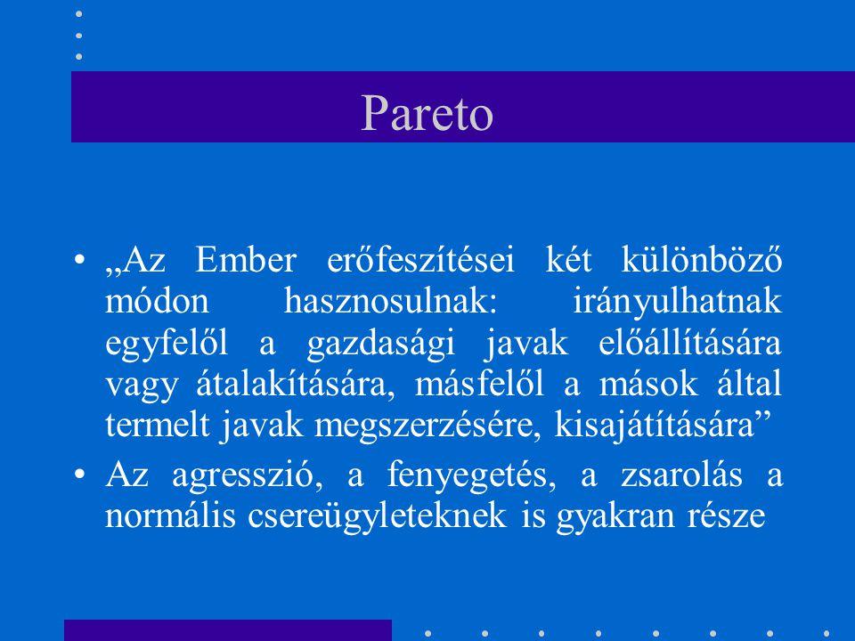 """Pareto """"Az Ember erőfeszítései két különböző módon hasznosulnak: irányulhatnak egyfelől a gazdasági javak előállítására vagy átalakítására, másfelől a"""