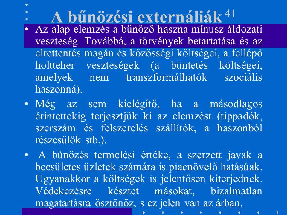 A bűnözési externáliák 41 Az alap elemzés a bűnöző haszna mínusz áldozati veszteség. Továbbá, a törvények betartatása és az elrettentés magán és közös