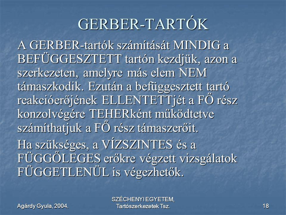 Agárdy Gyula, 2004. SZÉCHENYI EGYETEM, Tartószerkezetek Tsz.18 GERBER-TARTÓK A GERBER-tartók számítását MINDIG a BEFÜGGESZTETT tartón kezdjük, azon a