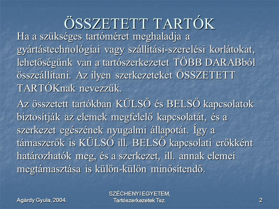 Agárdy Gyula, 2004. SZÉCHENYI EGYETEM, Tartószerkezetek Tsz.2 ÖSSZETETT TARTÓK Ha a szükséges tartóméret meghaladja a gyártástechnológiai vagy szállít