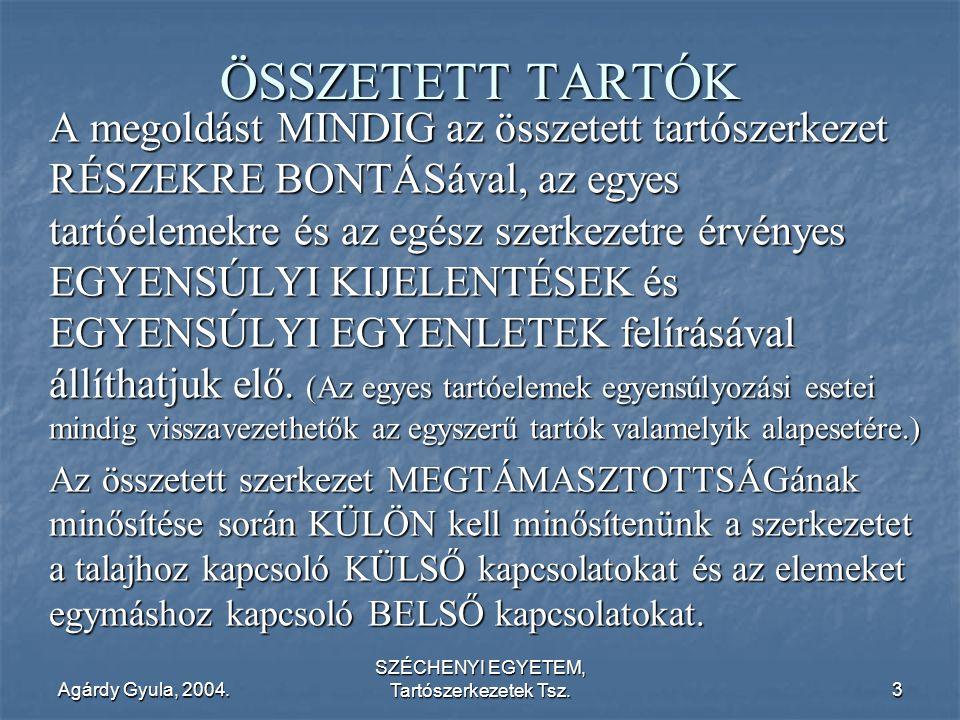 Agárdy Gyula, 2004. SZÉCHENYI EGYETEM, Tartószerkezetek Tsz.3 ÖSSZETETT TARTÓK A megoldást MINDIG az összetett tartószerkezet RÉSZEKRE BONTÁSával, az