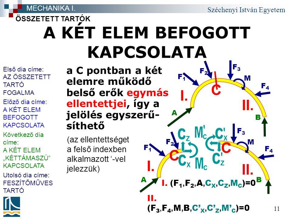 Széchenyi István Egyetem 11 A KÉT ELEM BEFOGOTT KAPCSOLATA a C pontban a két elemre működő belső erők egymás ellentettjei, így a jelölés egyszerű- sít