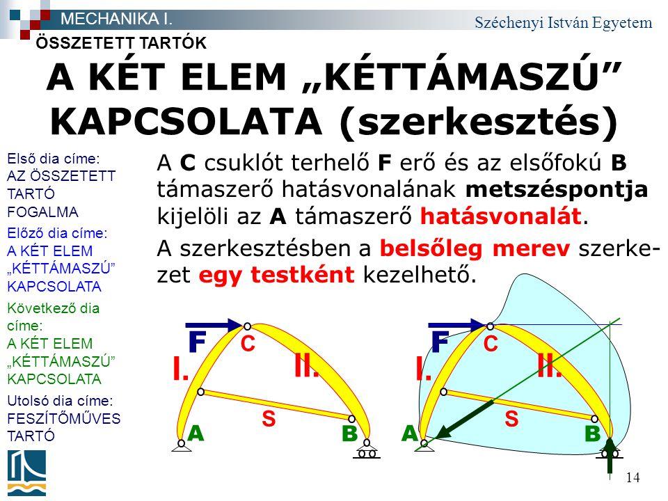 """Széchenyi István Egyetem 14 A F B C S II. I. A KÉT ELEM """"KÉTTÁMASZÚ"""" KAPCSOLATA (szerkesztés) A C csuklót terhelő F erő és az elsőfokú B támaszerő hat"""