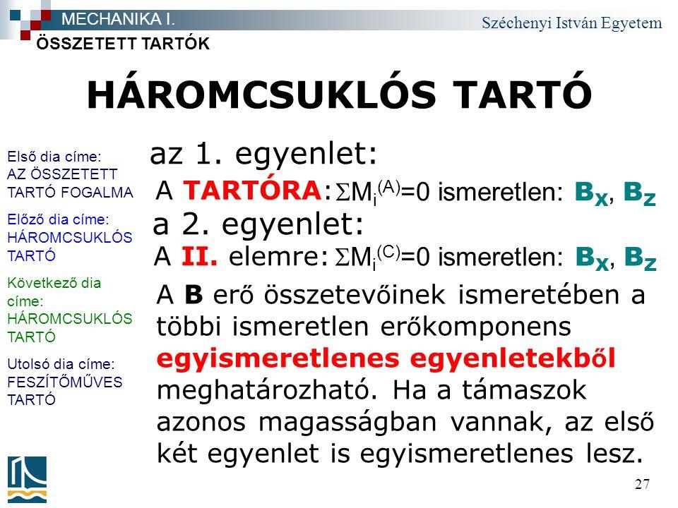Széchenyi István Egyetem 27 HÁROMCSUKLÓS TARTÓ ÖSSZETETT TARTÓK MECHANIKA I. az 1. egyenlet: A TARTÓRA:  M i (A) =0 ismeretlen: B X, B Z A B er ő öss