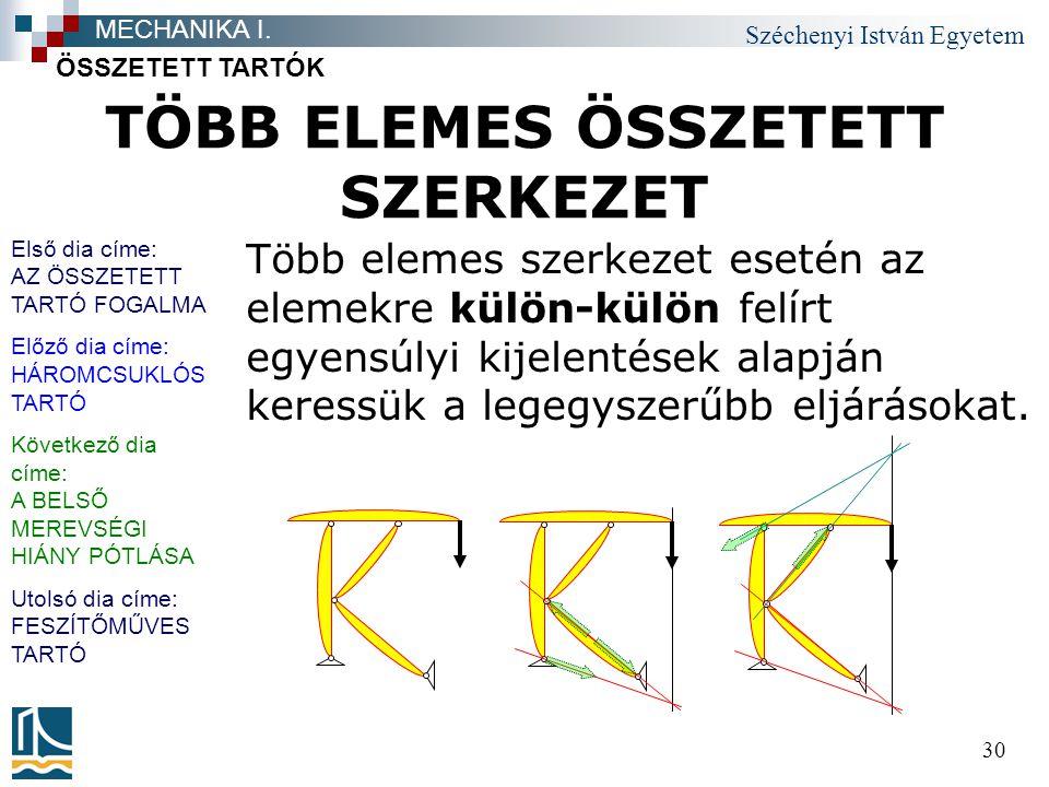 Széchenyi István Egyetem 30 TÖBB ELEMES ÖSSZETETT SZERKEZET Több elemes szerkezet esetén az elemekre külön-külön felírt egyensúlyi kijelentések alapjá