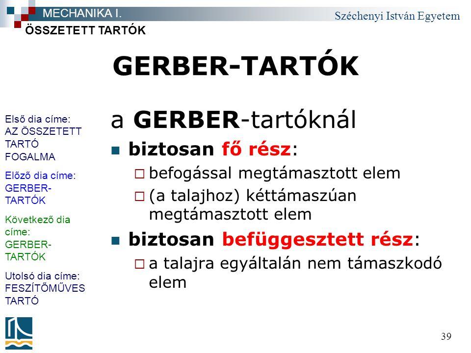 Széchenyi István Egyetem 39 GERBER-TARTÓK a GERBER-tartóknál biztosan fő rész:  befogással megtámasztott elem  (a talajhoz) kéttámaszúan megtámaszto