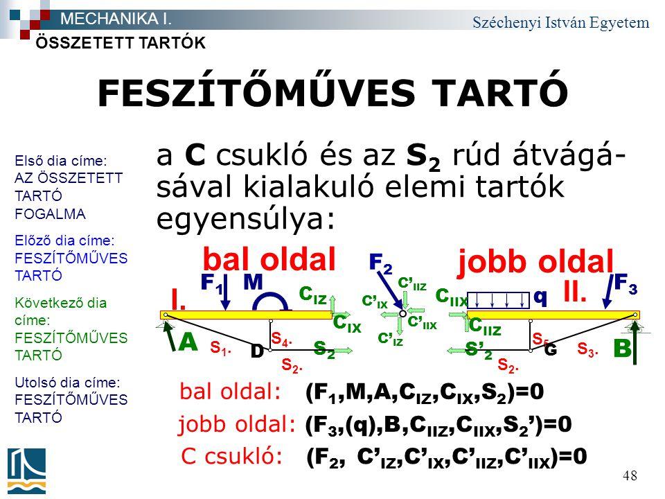 Széchenyi István Egyetem 48 FESZÍTŐMŰVES TARTÓ a C csukló és az S 2 rúd átvágá- sával kialakuló elemi tartók egyensúlya: ÖSSZETETT TARTÓK MECHANIKA I.