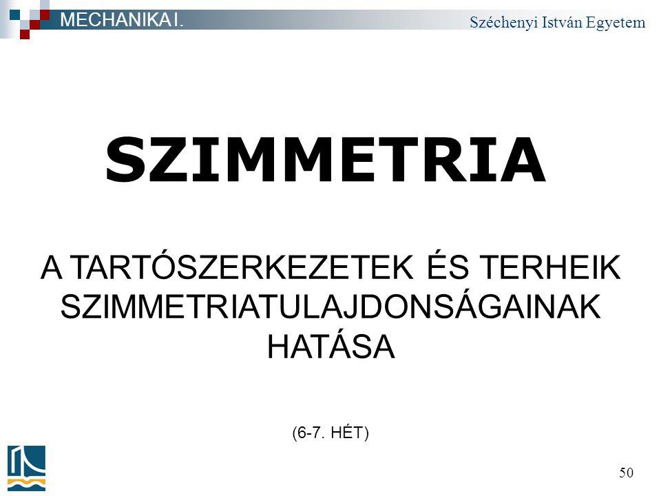Széchenyi István Egyetem 50 SZIMMETRIA MECHANIKA I. A TARTÓSZERKEZETEK ÉS TERHEIK SZIMMETRIATULAJDONSÁGAINAK HATÁSA (6-7. HÉT)