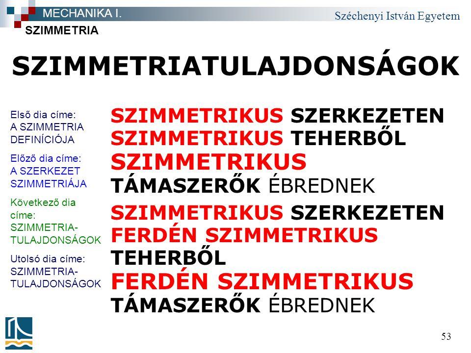 Széchenyi István Egyetem 53 SZIMMETRIATULAJDONSÁGOK SZIMMETRIKUS SZERKEZETEN SZIMMETRIKUS TEHERBŐL SZIMMETRIKUS TÁMASZERŐK ÉBREDNEK SZIMMETRIKUS SZERK