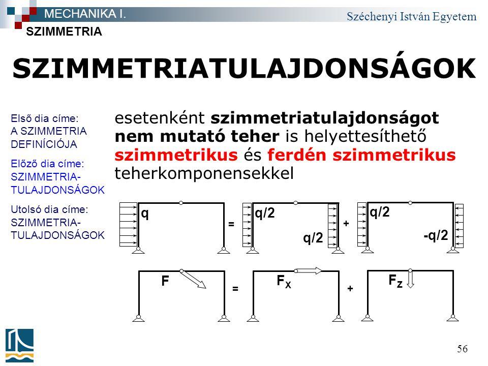 Széchenyi István Egyetem 56 SZIMMETRIATULAJDONSÁGOK esetenként szimmetriatulajdonságot nem mutató teher is helyettesíthető szimmetrikus és ferdén szim