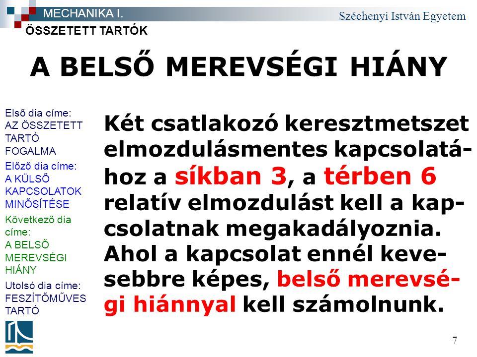 Széchenyi István Egyetem 7 A BELSŐ MEREVSÉGI HIÁNY Két csatlakozó keresztmetszet elmozdulásmentes kapcsolatá- hoz a síkban 3, a térben 6 relatív elmoz