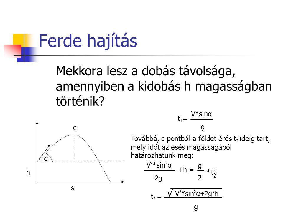 Mekkora lesz a dobás távolsága, amennyiben a kidobás h magasságban történik? c α h s t1=t1= V*sin α g t 2 = Továbbá, c pontból a földet érés t 2 ideig
