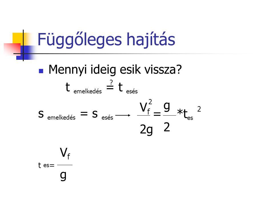 Függőleges hajítás Példa: függőleges felugrásban elért eredmény 75 cm.