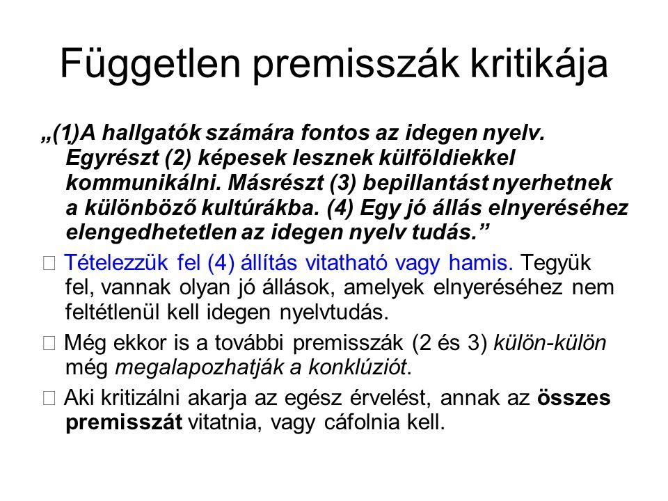 """Független premisszák kritikája """"(1)A hallgatók számára fontos az idegen nyelv. Egyrészt (2) képesek lesznek külföldiekkel kommunikálni. Másrészt (3)"""