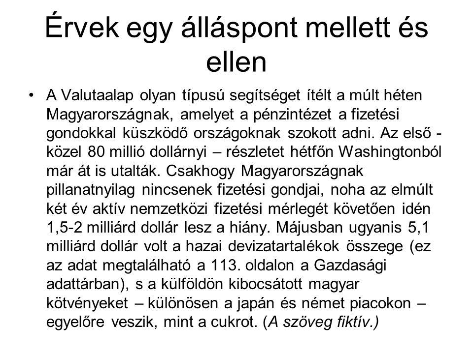 Érvek egy álláspont mellett és ellen A Valutaalap olyan típusú segítséget ítélt a múlt héten Magyarországnak, amelyet a pénzintézet a fizetési gondokk