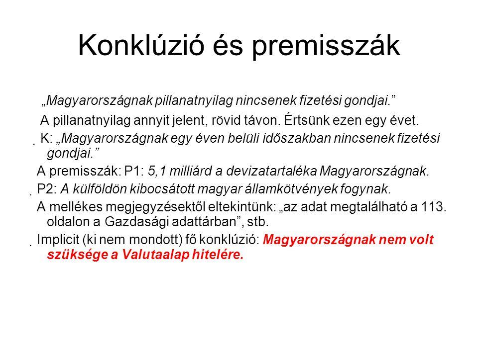 """Konklúzió és premisszák """"Magyarországnak pillanatnyilag nincsenek fizetési gondjai."""" A pillanatnyilag annyit jelent, rövid távon. Értsünk ezen egy éve"""