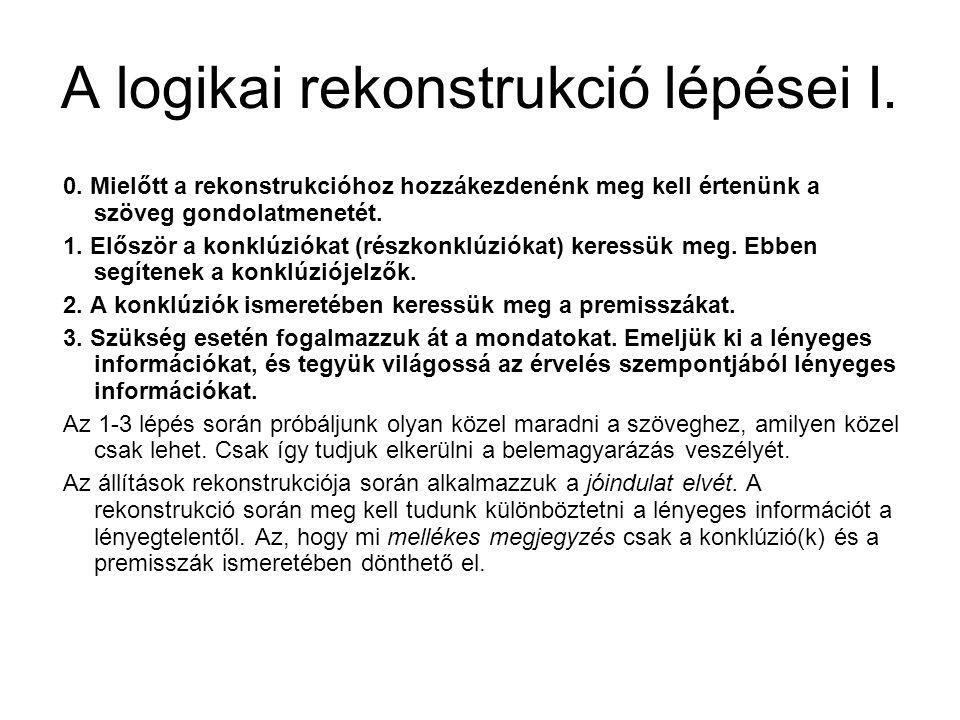 A logikai rekonstrukció lépései I. 0. Mielőtt a rekonstrukcióhoz hozzákezdenénk meg kell értenünk a szöveg gondolatmenetét. 1. Először a konklúziókat