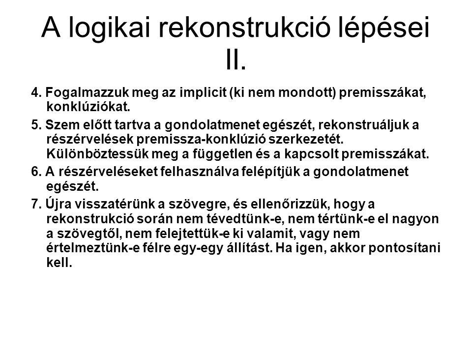 A logikai rekonstrukció lépései II. 4. Fogalmazzuk meg az implicit (ki nem mondott) premisszákat, konklúziókat. 5. Szem előtt tartva a gondolatmenet e