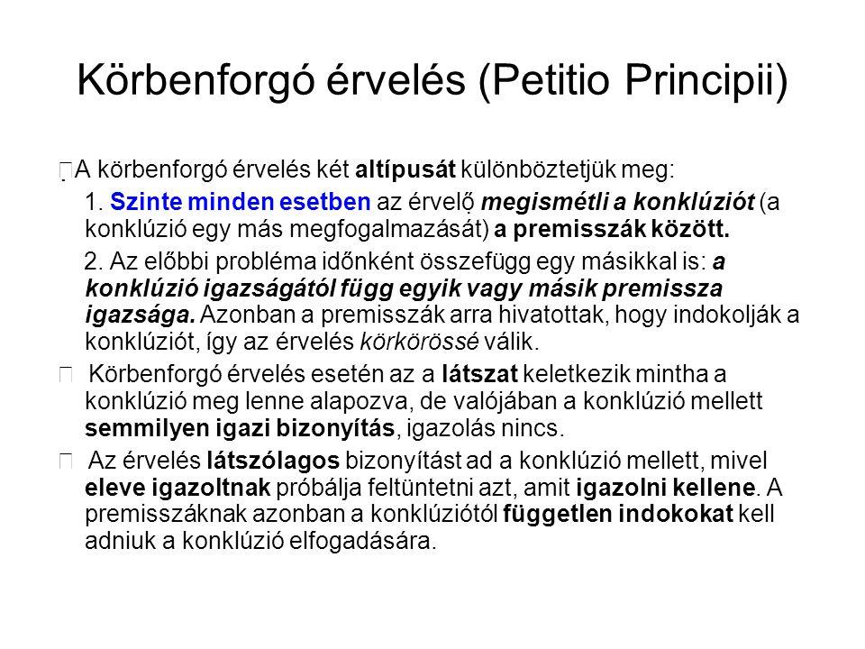 Körbenforgó érvelés (Petitio Principii)  A körbenforgó érvelés két altípusát különböztetjük meg: 1. Szinte minden esetben az érvelő megismétli a