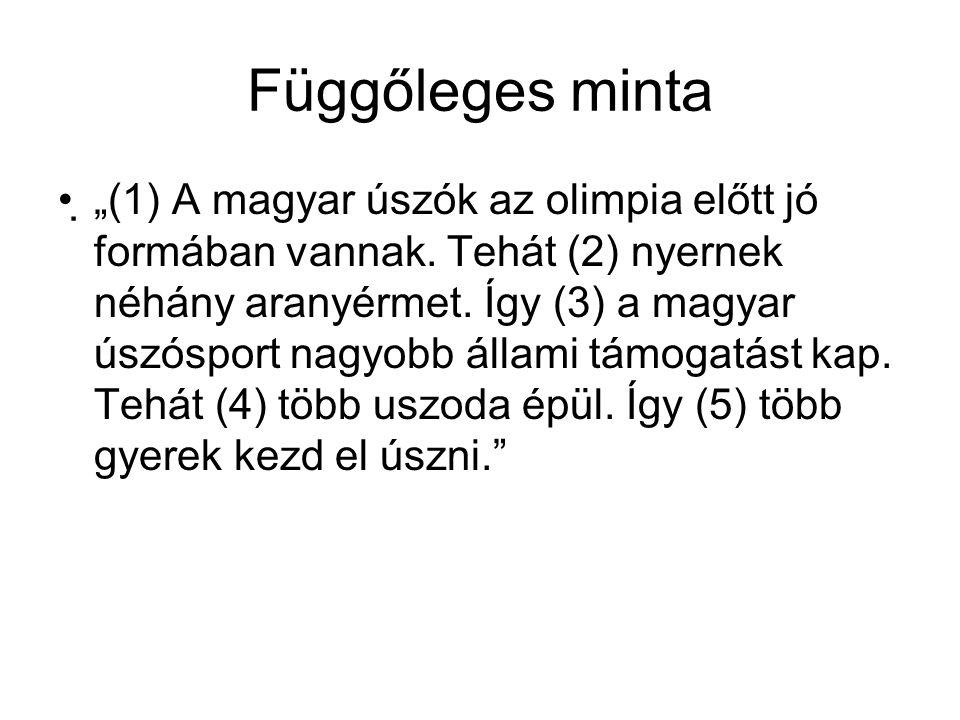 """Függőleges minta """"(1) A magyar úszók az olimpia előtt jó formában vannak. Tehát (2) nyernek néhány aranyérmet. Így (3) a magyar úszósport nagyobb áll"""
