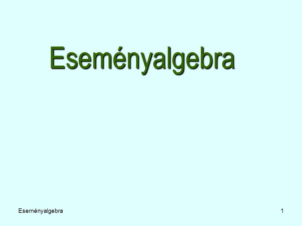 Eseményalgebra12 Műveletek eseményekkel Ha egy esemény Ω egyetlen elemi eseményét sem tartalmazza, akkor lehetetlen eseménynek nevezzük.