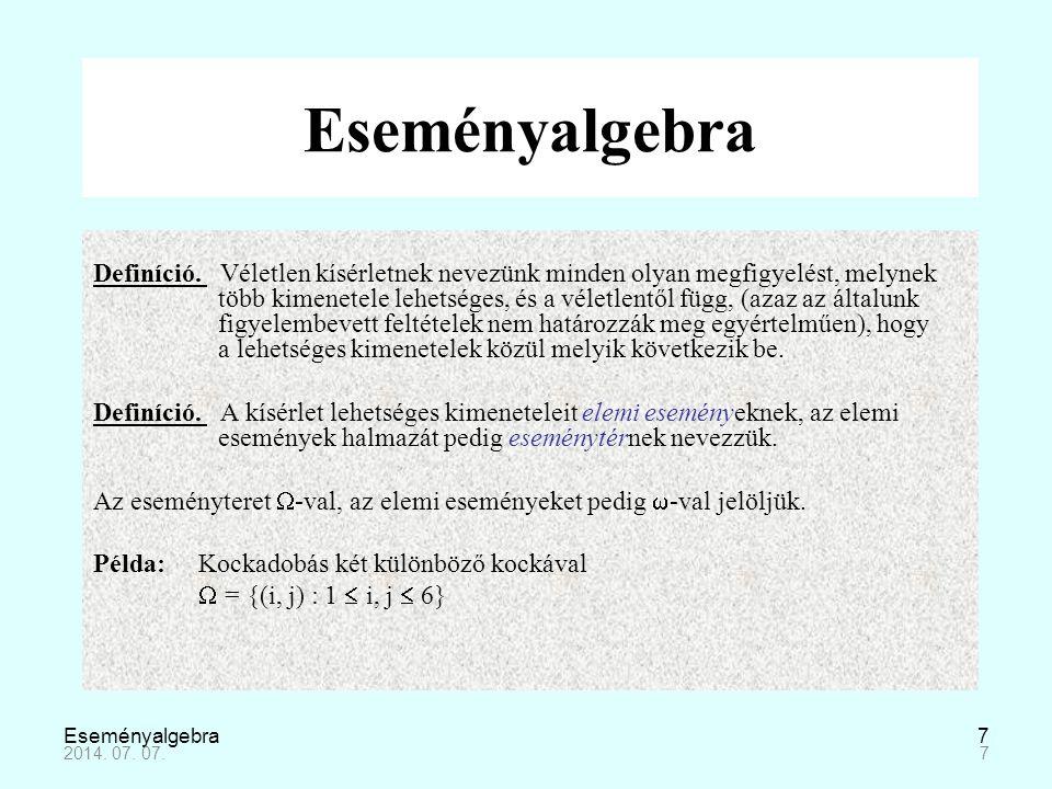 Eseményalgebra8 Definíció.A véletlen esemény az  eseménytér egy részhalmaza.